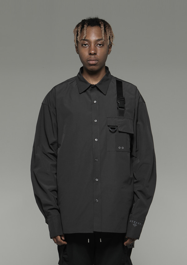 Own label brand[DENAGE] Pocket Tech wear Over Shirt Gray