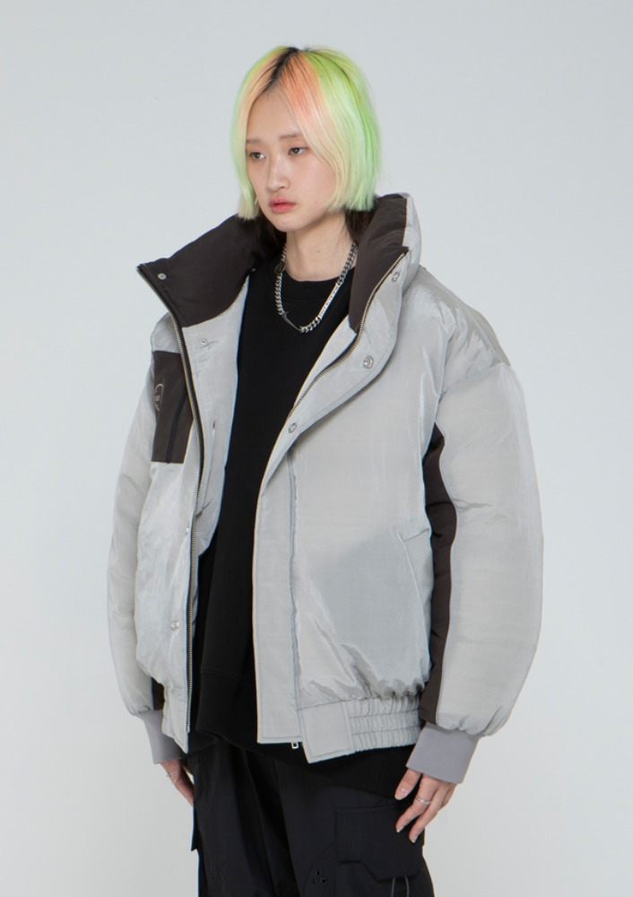 Own label brand[드네이지] 3M Piping Nylon Short Down Jacket GREY_0085