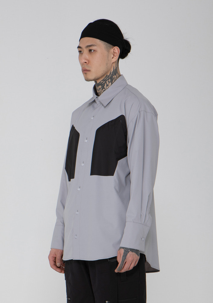 Own label brand[드네이지] Y Line Pocket Poly Shirts GREY