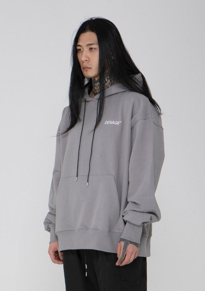 Own label brand[드네이지]Signature Logo Overfit Hoodie GREY