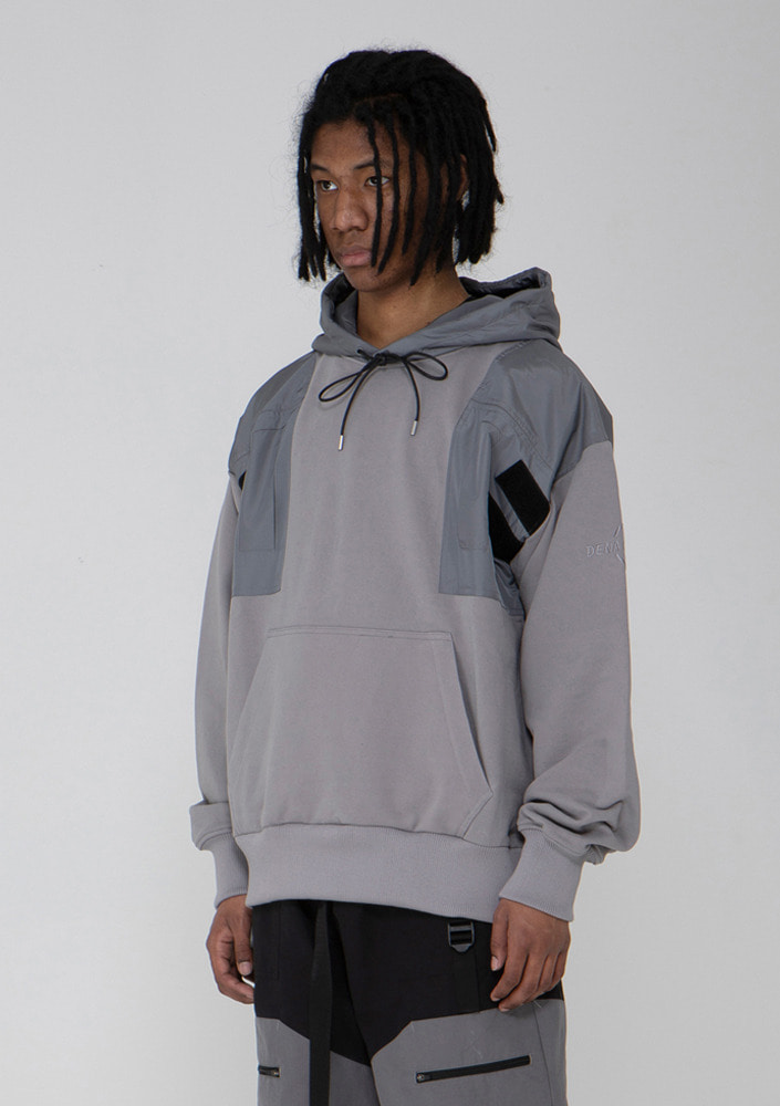 Own label brand[드네이지]Chest Pocket Hoodie GREY