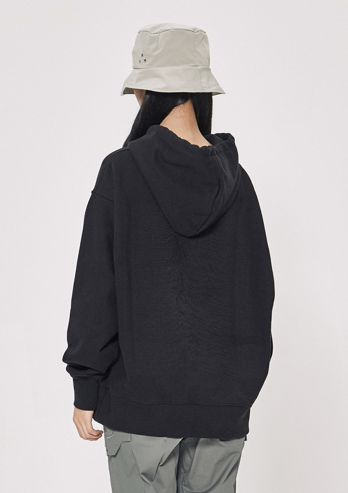 Own label brand[드네이지]Division Washing Heavyweight Hood BLACK