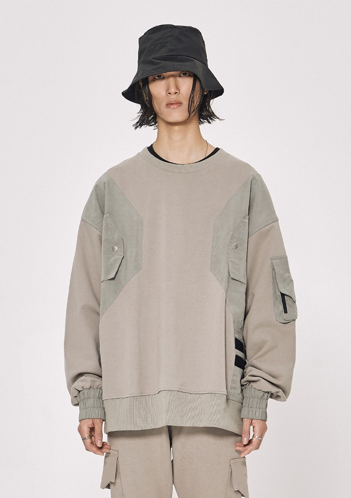 Own label brand[DE-NAGE] Snap Velcro Sweatshirts Beige_0154
