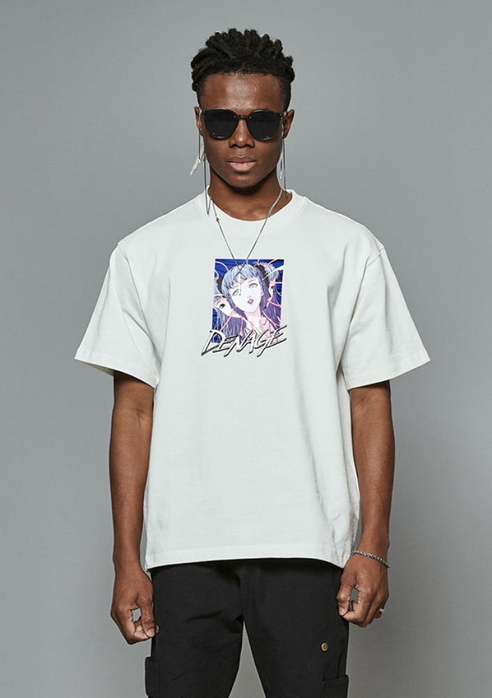 Own label brand[DE-NAGE] TAETAE x DENAGE Reborn Short Sleeve Ivory 0186