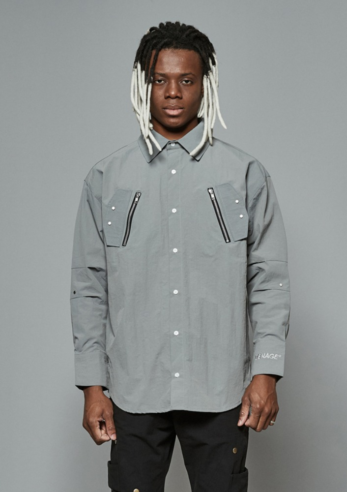 Own label brand[DE-NAGE] Arrow Zip Shirts Grey 0167