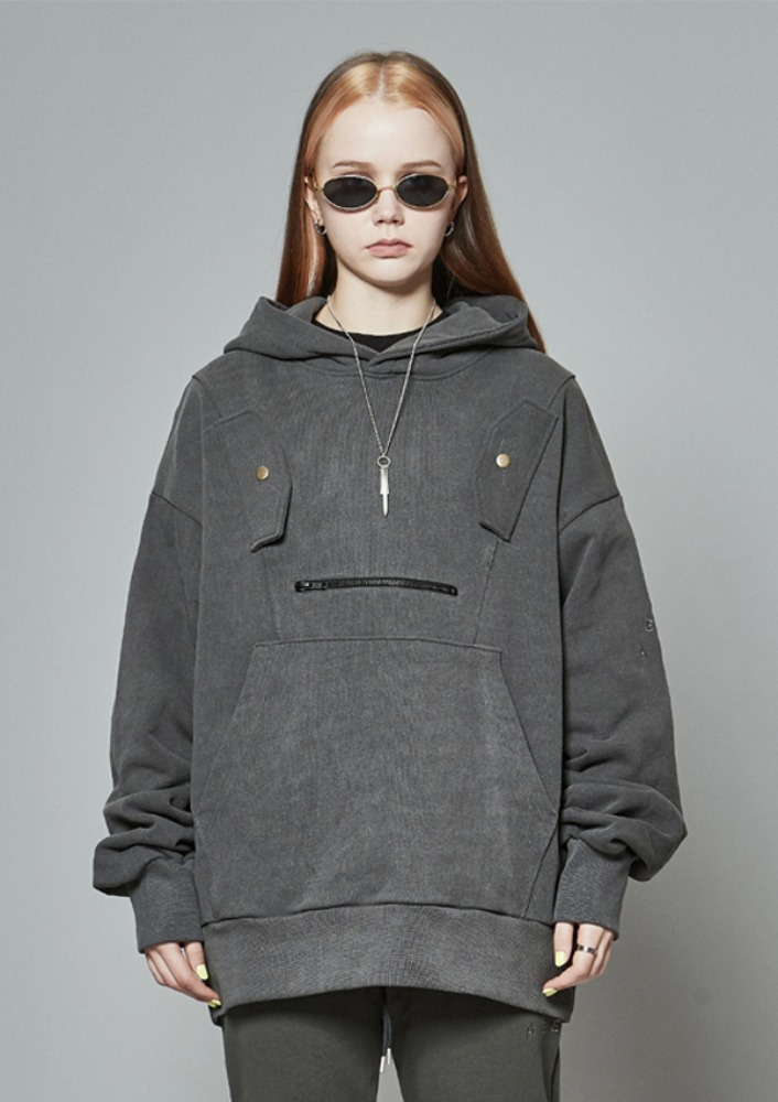 Own label brand[DE-NAGE] Double Pocket Vest Hood Grey 0188