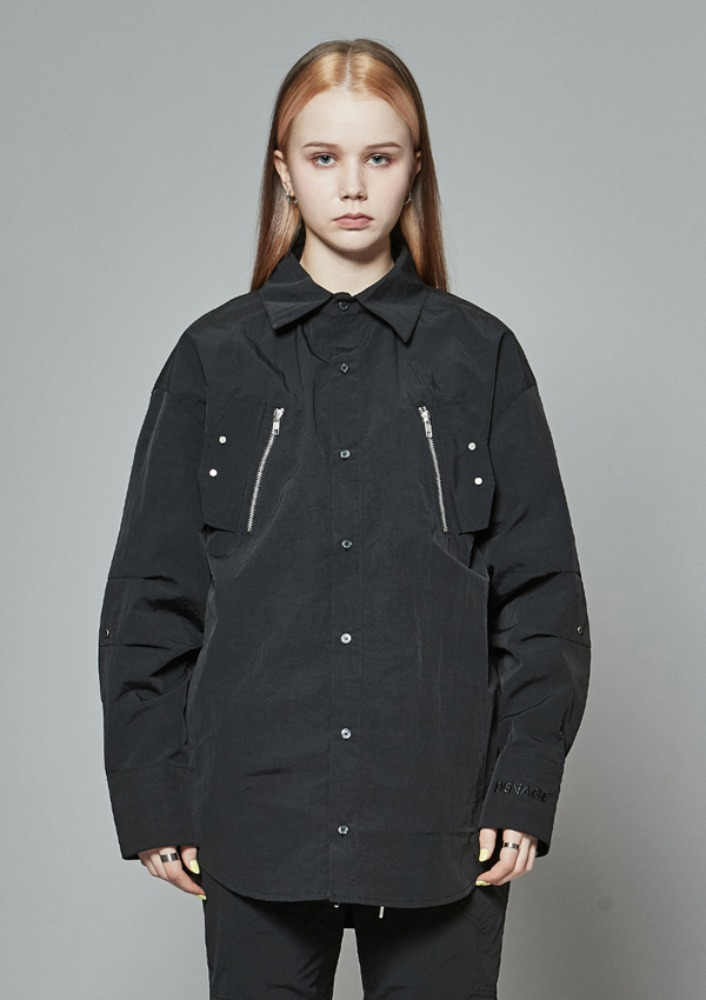 Own label brand[DE-NAGE] Arrow Zip Shirts Black 0166