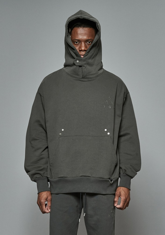 Own label brand[DE-NAGE] Hidden Pocket Snap Hood Grey 0172